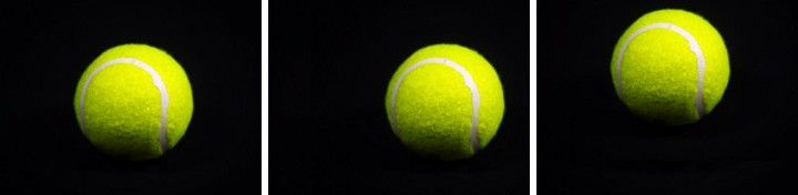 Tennis ball with different positions