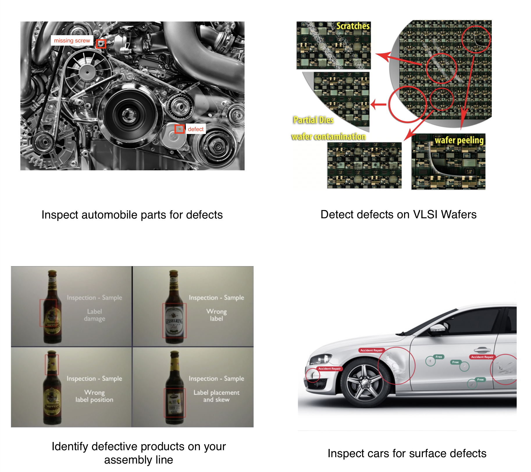 Automated Visual Inspection in automobiles , VLSI defect, assembly line, car surface defect